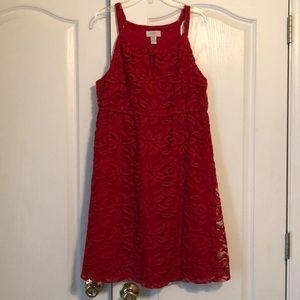 LOFT Red Lace Dress